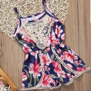 Toddler Floral Romper with lace trim!